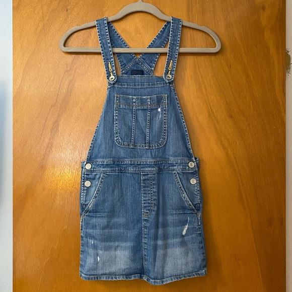 Like New Gap Distressed Jean Overall Dress